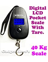 Gadget Hero's 40Kg Digital LCD Pocket Portable Hanging Kitchen Weight Weighing Scale With Tare.