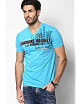 Aqua Blue V Neck T-Shirt (Smart Fit)
