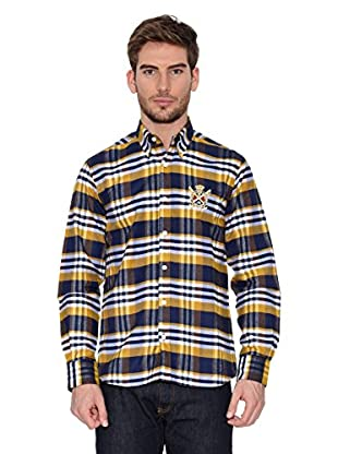 Polo Club Camisa Hombre Checks (Azul Marino / Amarillo)