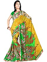 Shree Bahuchar Creation Women's Chiffon Saree(Skb40, Yellow and Green)