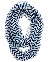 Cotton Cantina Soft Chevron Sheer Infinity Scarf in Contrasting Colors (Midnight)