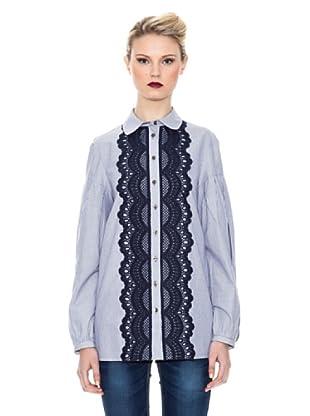 Kina Fernandez Camisa Con Encaje (Blanco / Azul)