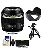 Canon EF-S 60mm f/2.8 Macro USM Lens with 3 UV/CPL/ND8 Filters + Lens Hood + Tripod + Kit for EOS 6D, 70D, 5D Mark II III, Rebel T3, T3i, T4i, T5, T5i, SL1 DSLR Cameras