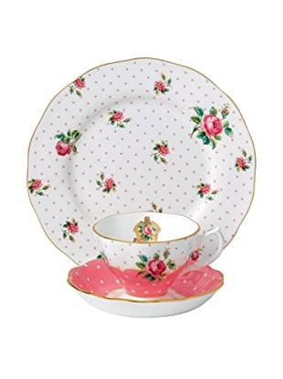 Royal Albert New Country Roses 3-Piece Teacup Set (Cheeky Pink)