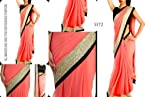 Chiffon Pink Embroidered Bollywood Style Saree
