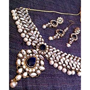 Necklace sets - Kundan Work in Flower & Leaves Deep Blue Stone Pearls Indian Necklace Set d15b