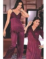 Indiatrendzs Women's Sexy Hot Nighty 3pc Set Purple Bedroom Nightwear Dress Freesize