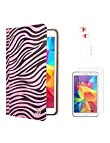 VG Zebra Print Mary Portfolio Multi Purpose Book Style Slim Flip Cover Case for Samsung Galaxy Tab4 T330/T331 8.0 (Pink) + White Earphones + Matte Screen