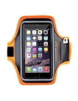 ICONIQ Armband - orange Orange Sports Gym Jogging Running Armband Arm Holder Case Cover For Samsung Note 2 & 3, Iphone 6, 6S, HTC,Sony, Intex, LG, Microsoft And All Compatible with Cellphones 5.7 Inch