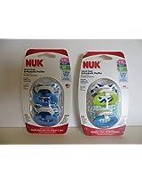 4 Nuk Orthodontic Pacifiers 6-18 Mo Boy Elephant & Core BPA Free Natural Shape