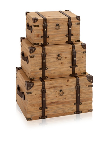 Industrial Chic Set of 3 Wooden Trunks