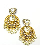 Orne Jewels 925 Sterling Silver Gold Plated Chand Balis with Pearls Dangle Earrings