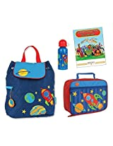 Stephen Joseph Quilted Backpack, Lunch Box, & Bottle Set, Rocket Ship