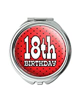 18th Eighteenth Birthday Red Black Polka Dots Compact Purse Mirror