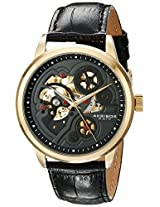 Akribos XXIV Men's AK538YG Mechanical Skeleton Leather Strap Watch