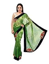 Shree Sai NX Women's Georgette Saree (Uddan 535 A, Green)