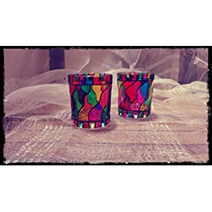 Hued Rainbow Coloured Candle Holder