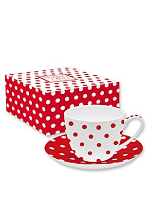 Easy Life Design Tazza Colazione con Piatto in Porcellana Bone China Happy Pois (Rosso)