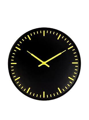 Kikkerland Swiss Station Ultra Flat Wall Clock, Black (Black/Yellow)