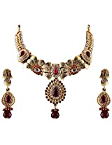 Vivanta Maroon Gold Plated Necklace And Earrings Set For Women (VD-N105)