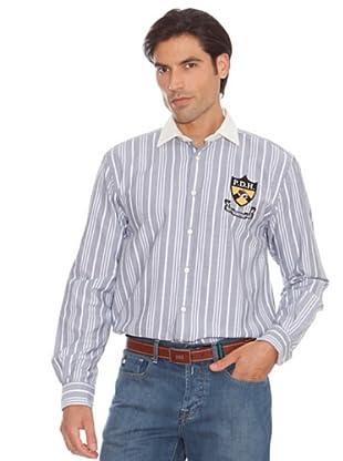 Pedro Del Hierro Camisa Rayas Escudo (Gris)