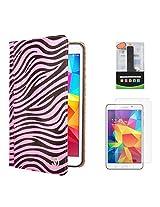 VG Zebra Print Mary Portfolio Multi Purpose Book Style Slim Flip Cover Case for Samsung Galaxy Tab4 T330/T331 8.0 (Pink) + 2600 mAh PowerBank + Matte Screen