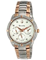 Bulova Diamond Analog White Dial Women's Watch - 98R177