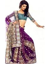 Passion Purple designer Sari with Ari Embroidered Paisleys and Squins - Net