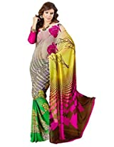 Vibes Women's Weighless butic Saree with Blouse (S22-1405A_ Multi-Coloured)