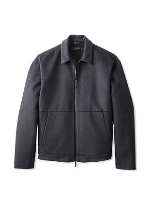 Calvin Klein Collection Men's Zip Up Pocket Short Coat (Charcoal)