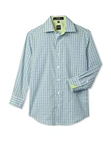 Ike Behar Boy's 8-20 Checked Sport Long Sleeve Shirt (Green)