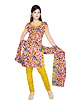 Sonal Trendz Women's Polyester Yellow Printed Dress Material
