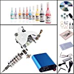 Complete Tattoo Kit Machines 10 Color Inks Power Supply K-4