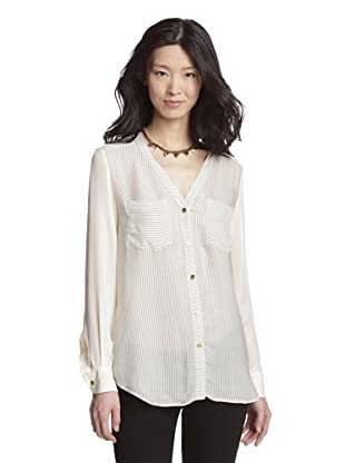 Rachel Roy Women's V-Neck Blouse (Pearl/Iron Gate)