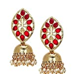 Ethnic Gold Plated Red Jhumki