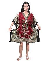 Indiatrendzs Women's Caftan Red Printed Short Sexy Nightwear Nighty Dress