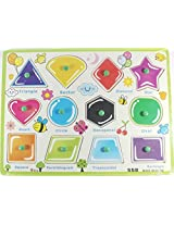 Little Leaf Multicolor Wooden Puzzle with Pegs - Shapes Educational Learning Toy Set for Children