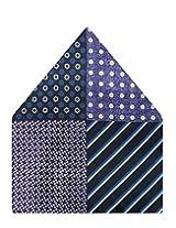 Tiekart Self Design Polyester Pocket Square (Ps527_Blue)