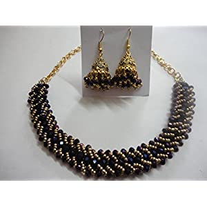 Mona Jewels Crystal Necklace Set in Purple and Matt Gold