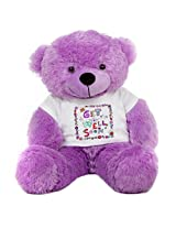 2 Feet Big Purple Teddy Bear wearing a Get Well Soon T-shirt