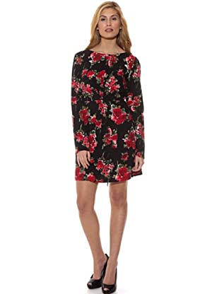 Peace & Love Vestido Estampado Rosas (Negro / Rojo)