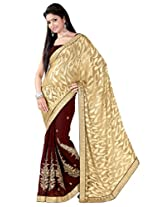 Khushali Fashion Georgette Saree with Blouse Piece (Gnsk4928 _Brown)