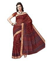 Jevi Prints Maroon Gadwal Cotton Saree with Blouse Piece