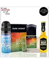 Park Avenue Combo of 4 Seasons Perfume, Cool Blue Deodorant And Beer Shampoo