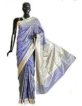 DollsofIndia Purple Pashmina Silk Saree with All-Over Design from Banaras with Brocade Border and Pallu - Silk - Mauve