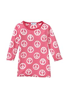 Petite Moon Girl's Long Sleeve Peace Sign Burnout Tee (Hot Pink)