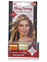 Mia Bling String Hologram Gold Hair Extensions, Orange, 1.44 Ounce