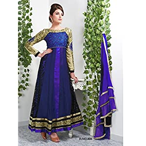 Georgette Embroidered Blue Semi Stitched Long Anarkali Suit - 406 By Viva N Diva