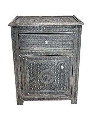 Badia Design Moroccan Filigree Wooden Nightstand, Silver