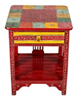 Exclusive Red Wood Stool Quatrefoil Hand Painted By Rajrang